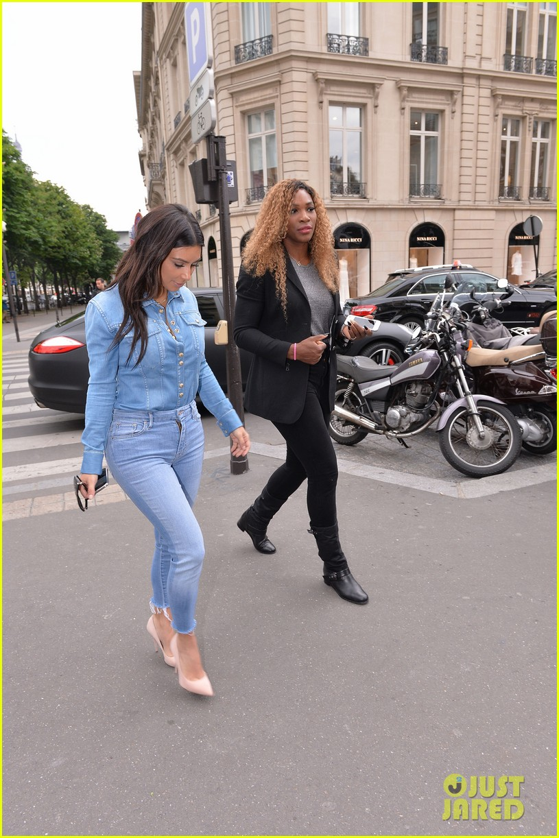 kim kardashian does double denim for lunch with serena williams 10