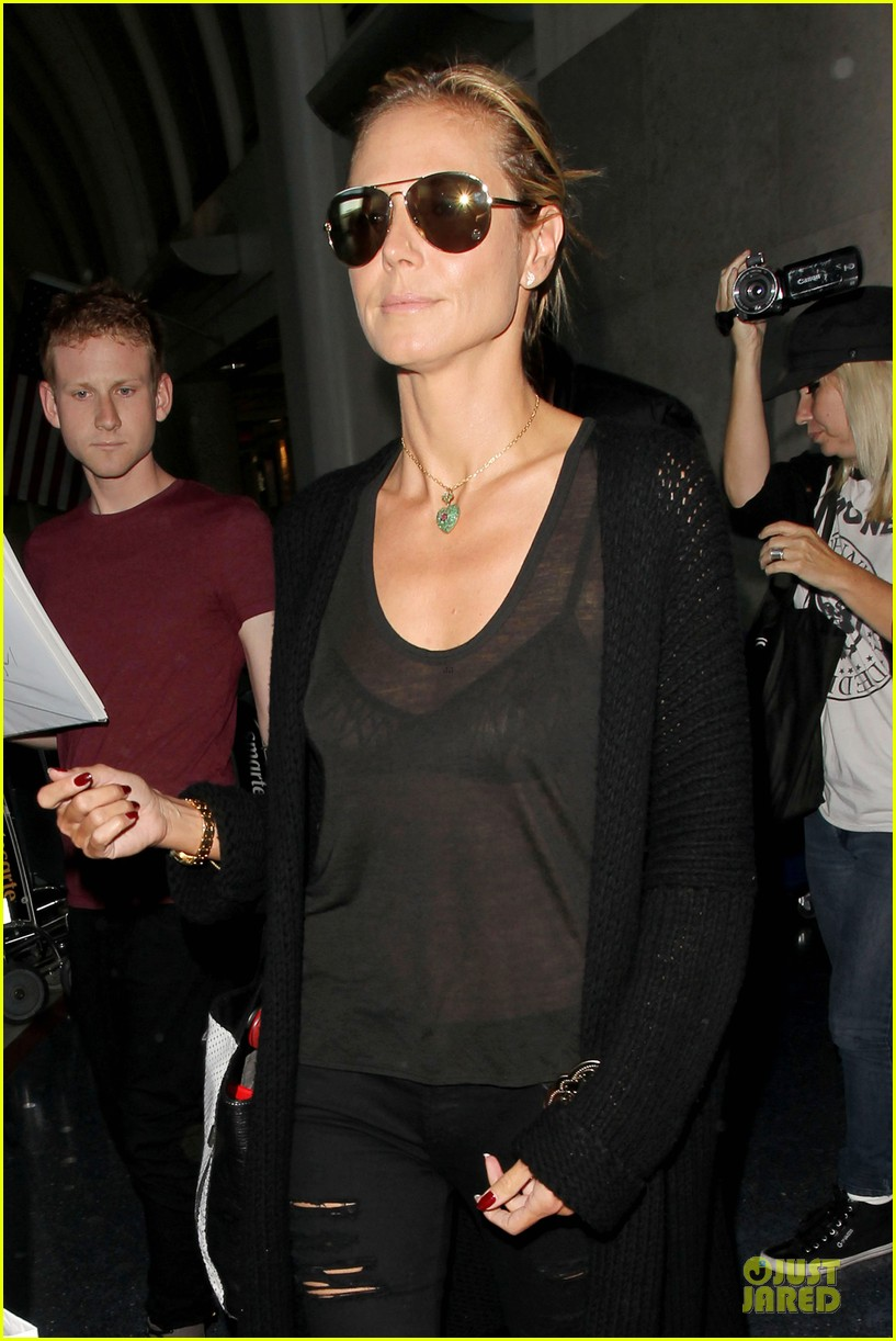 heidi klum sheer top at lax airport 043095202