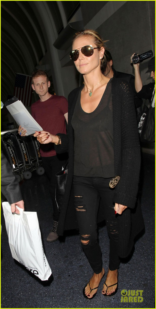 heidi klum sheer top at lax airport 113095209