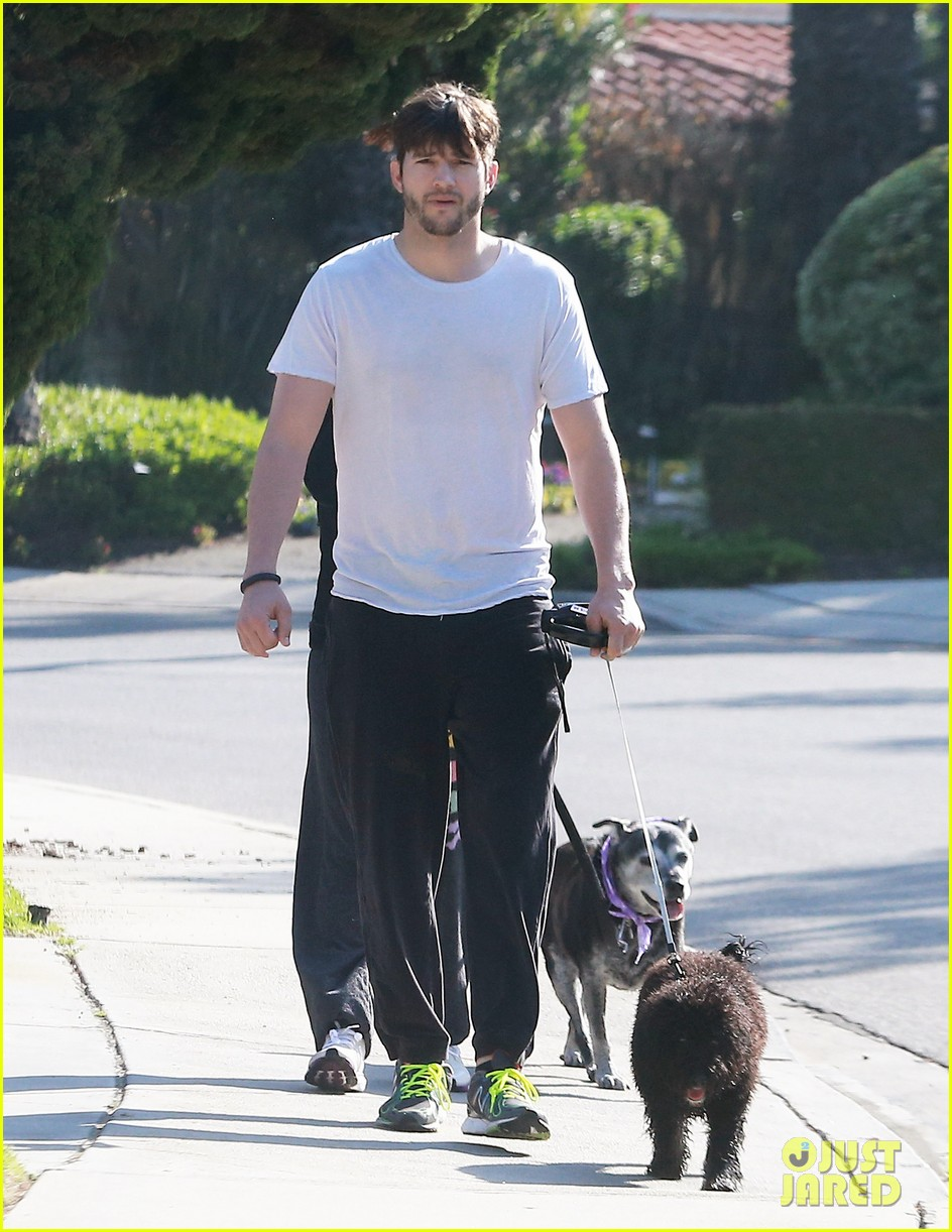 ashton kutcher shields mila kunis for easter sunday dog walk 063095804