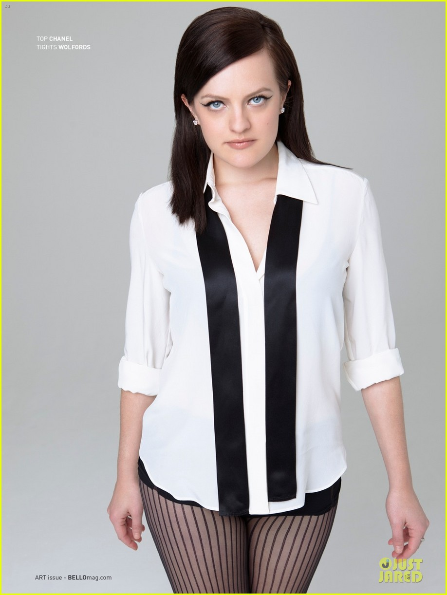 elisabeth moss shows off black bra in sexy top in bello 063085250