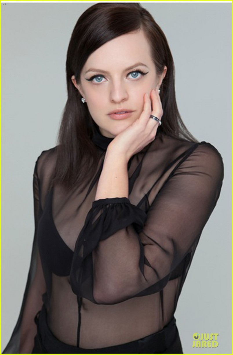 elisabeth moss shows off black bra in sexy top in bello 07