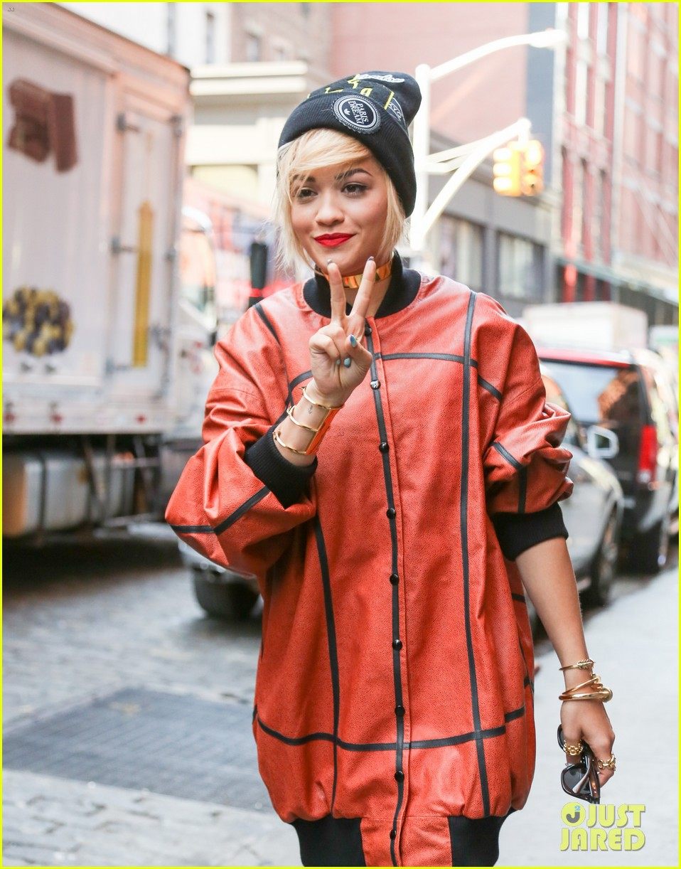 rita ora wears basketball print jacket 023100098