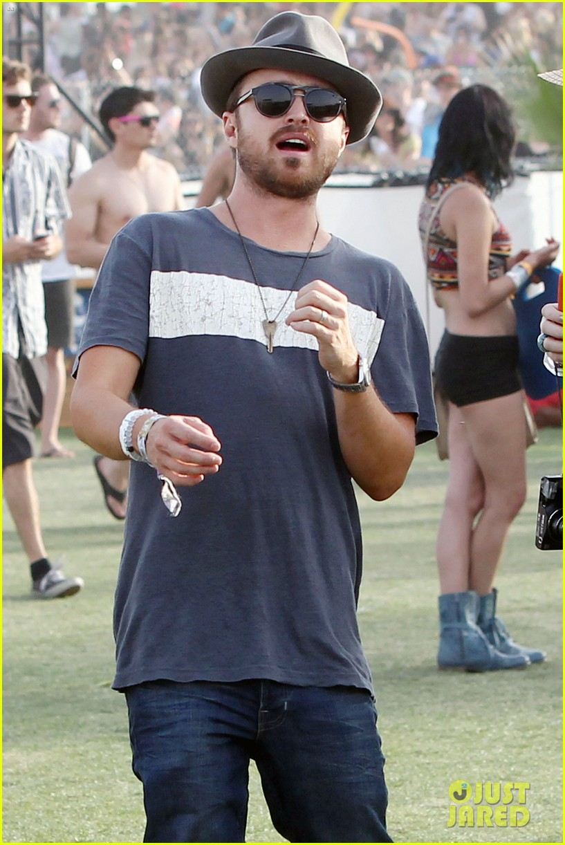 aaron paul wife wears retro bikini at coachella 02