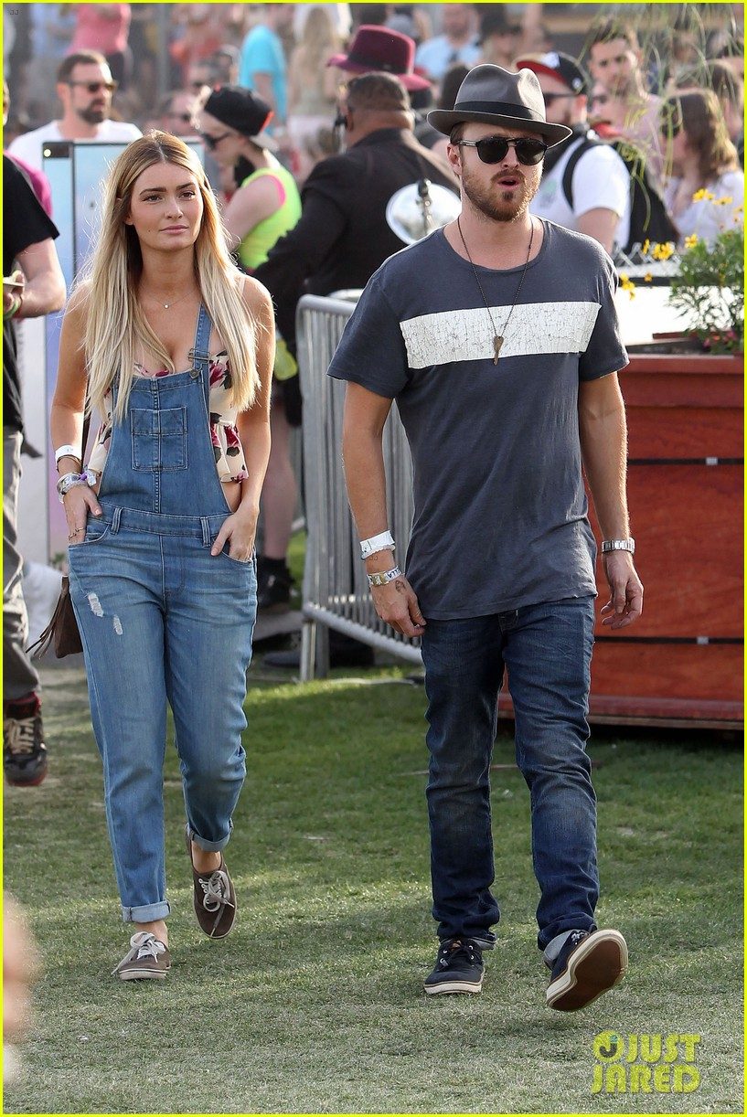 aaron paul wife wears retro bikini at coachella 113090212