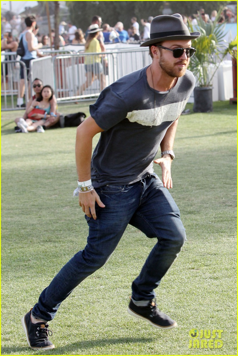 aaron paul wife wears retro bikini at coachella 16