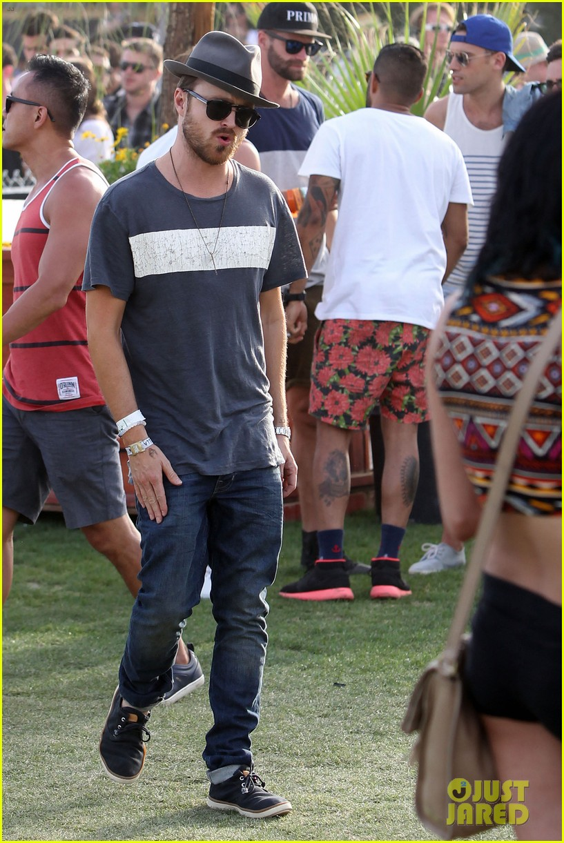 aaron paul wife wears retro bikini at coachella 18