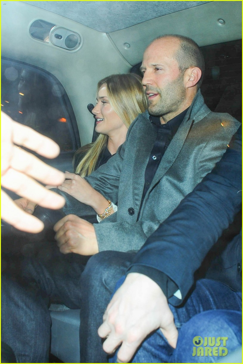 rosie huntington whiteley jason statham london backseat smooches 17