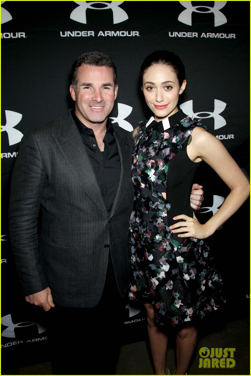 emmy rossum plays with shoes at under armour store launch 10