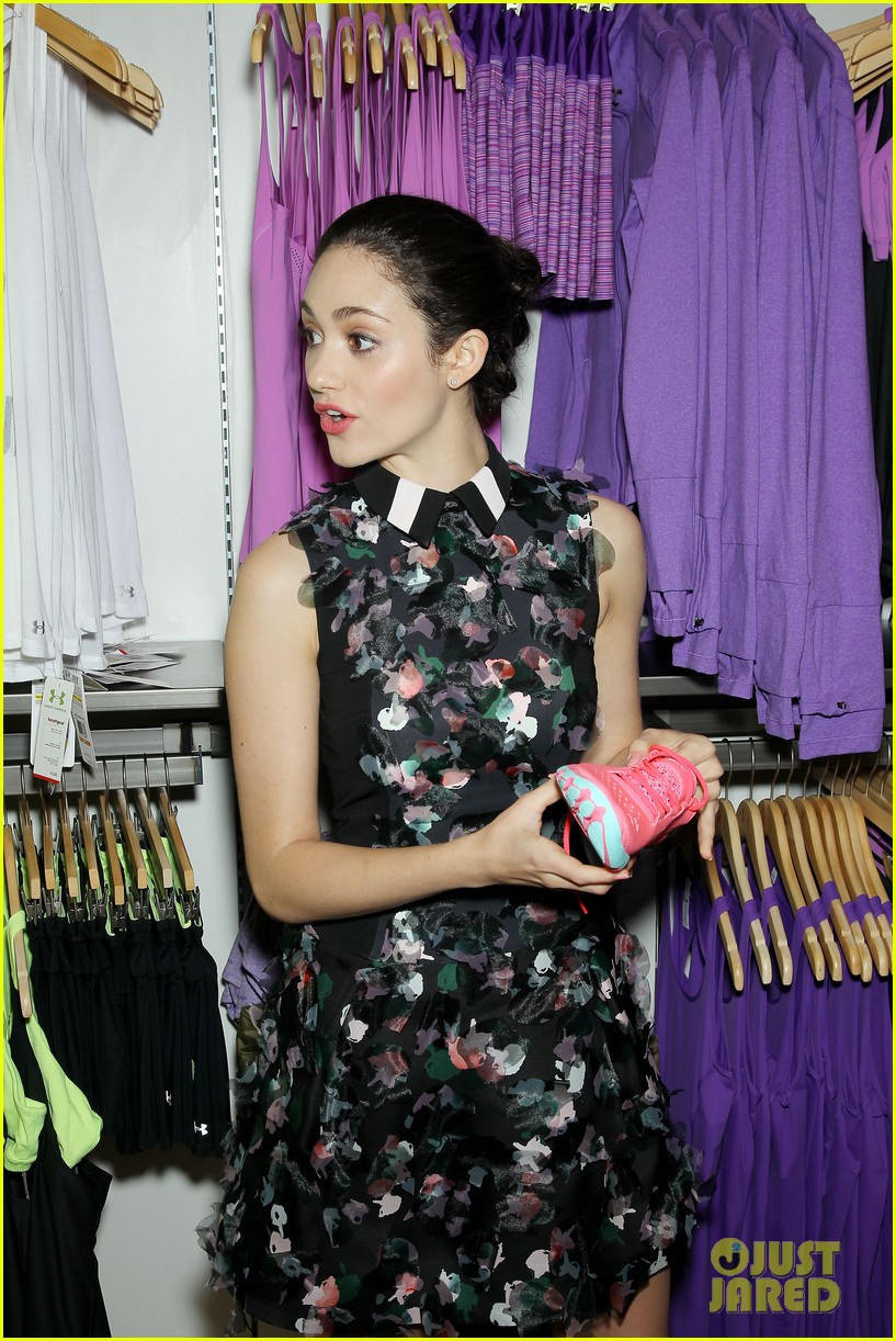 emmy rossum plays with shoes at under armour store launch 253102050
