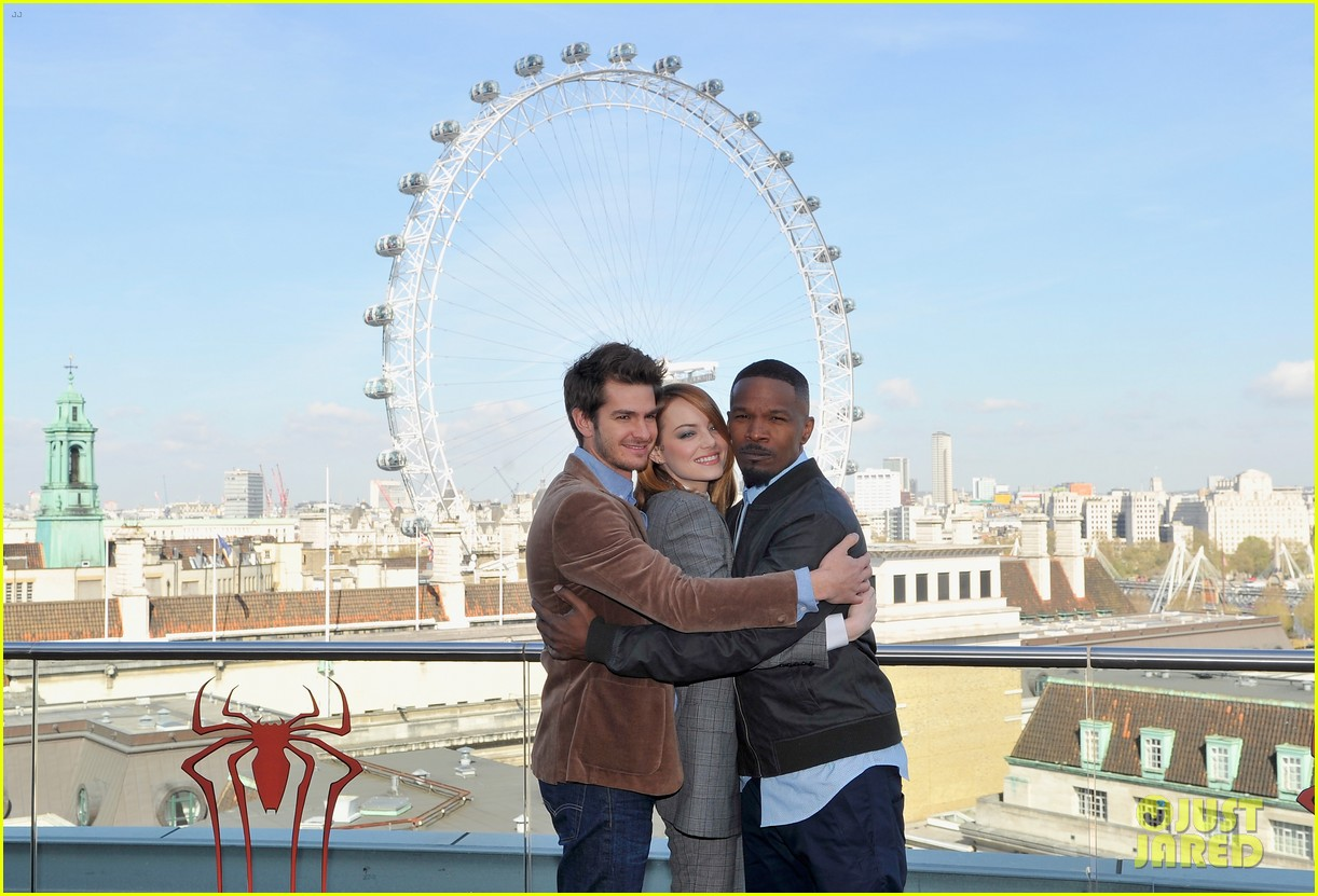 andrew garfield jamie foxx sandwhich emma stone at amazing spider man 2 london photo call 20
