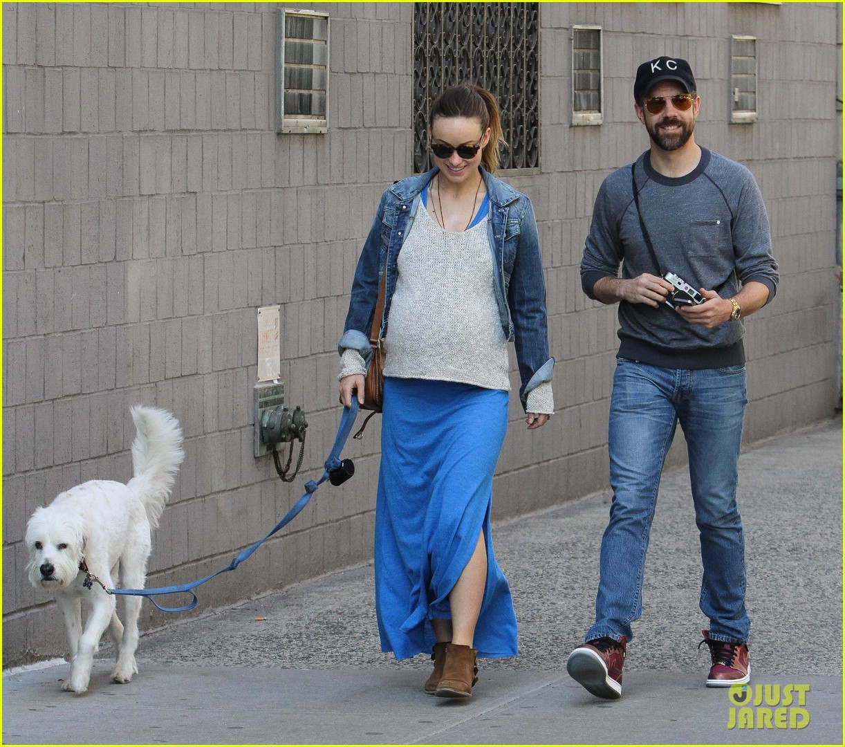 olivia wilde growing baby bump dog walk 13