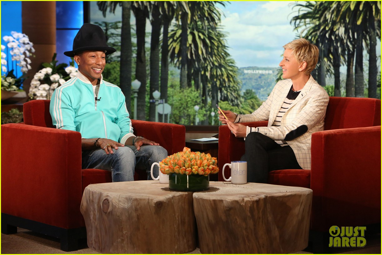 pharrell williams gives ellen degeneres special hat 01