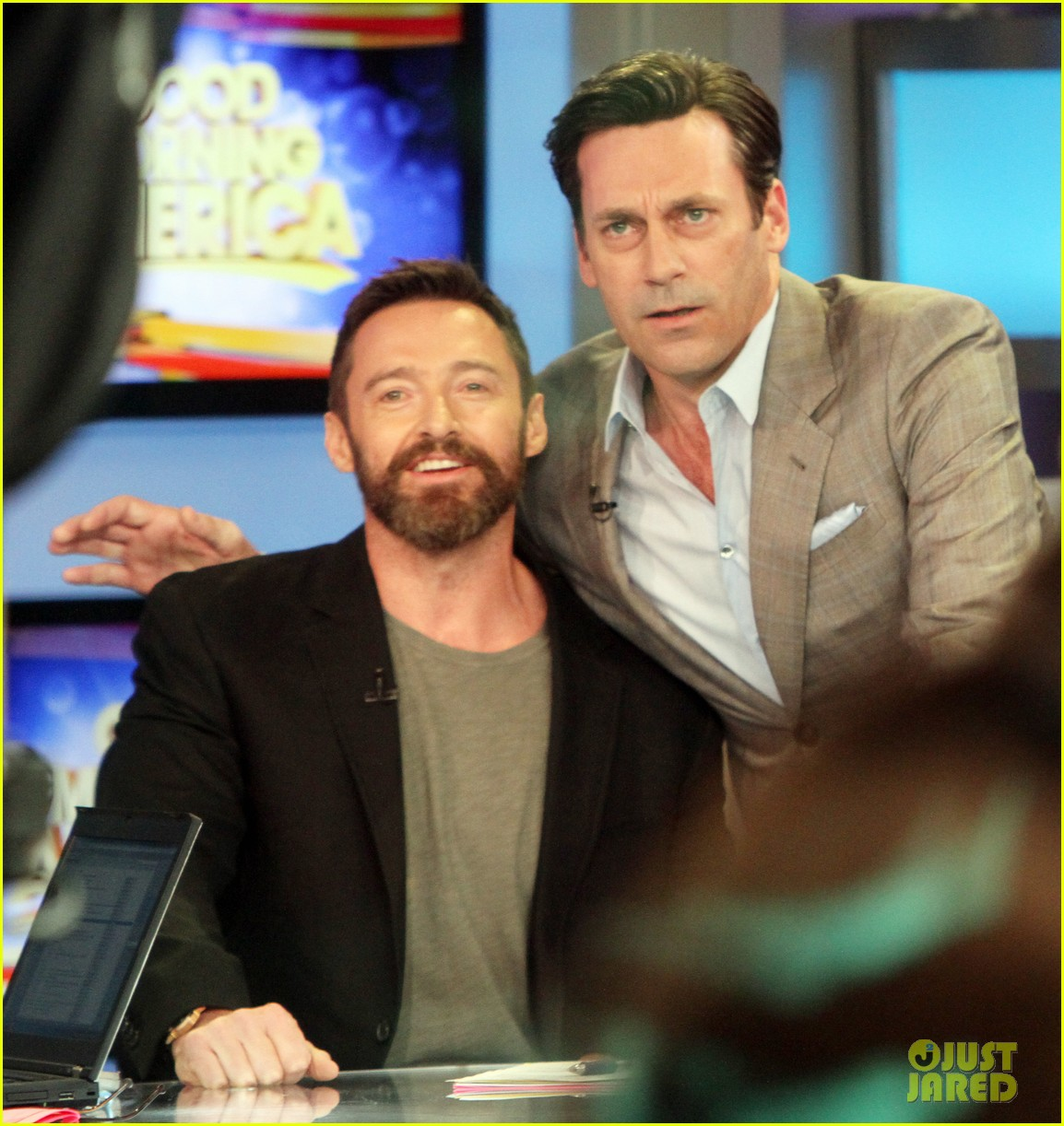 hugh jackman jon hamm bromance moment buddy around at gma 02