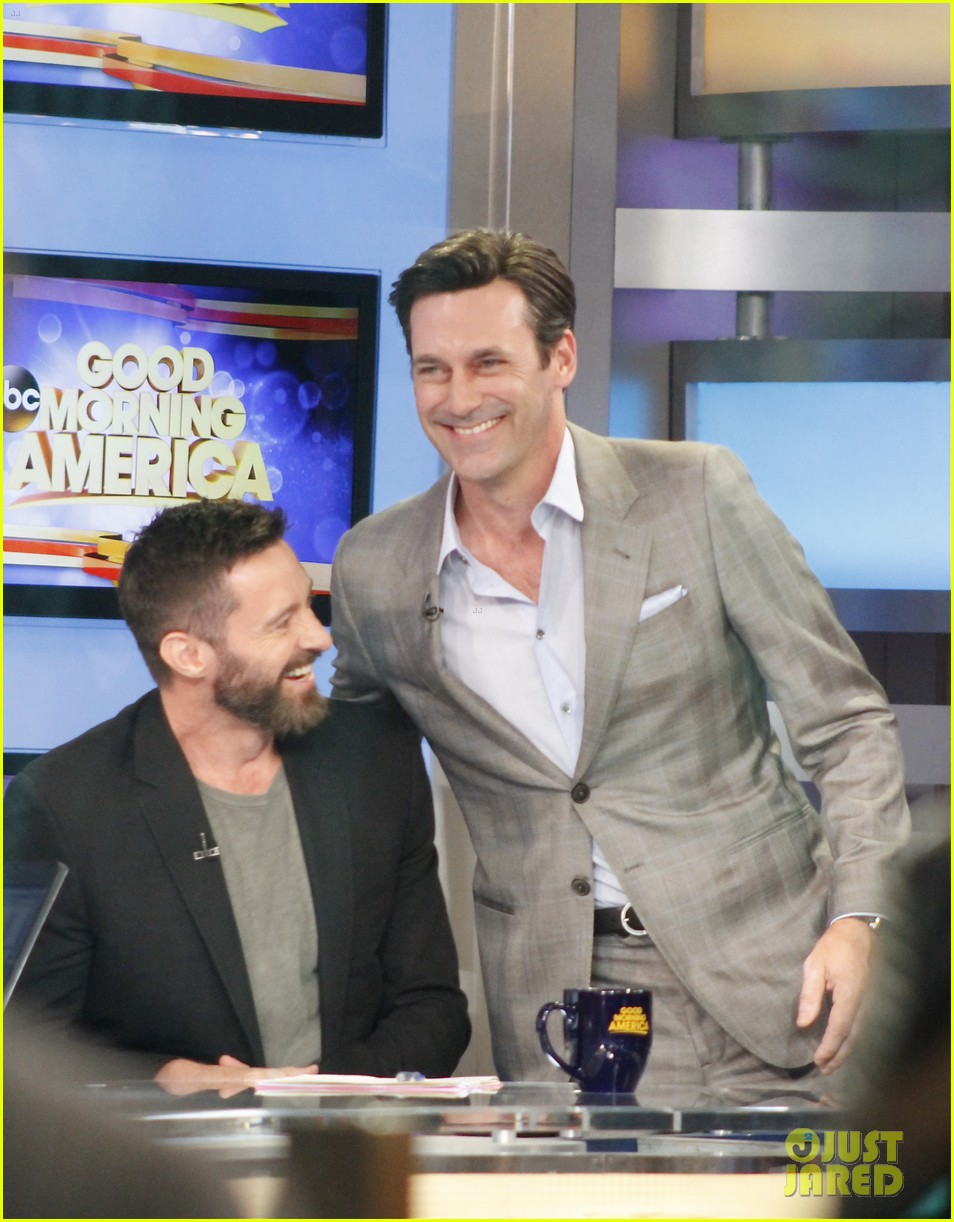 hugh jackman jon hamm bromance moment buddy around at gma 16