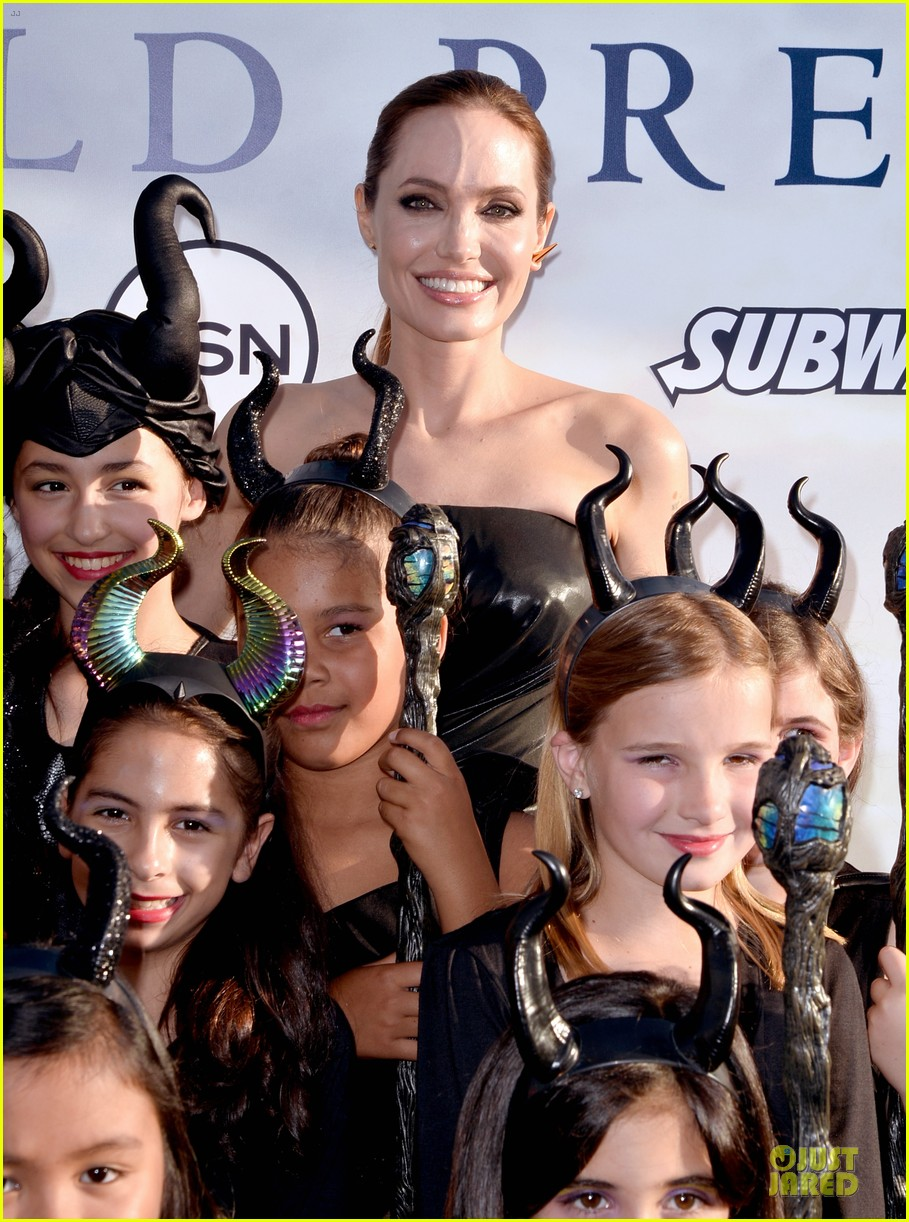 angelina jolie in versace maleficent los angeles
