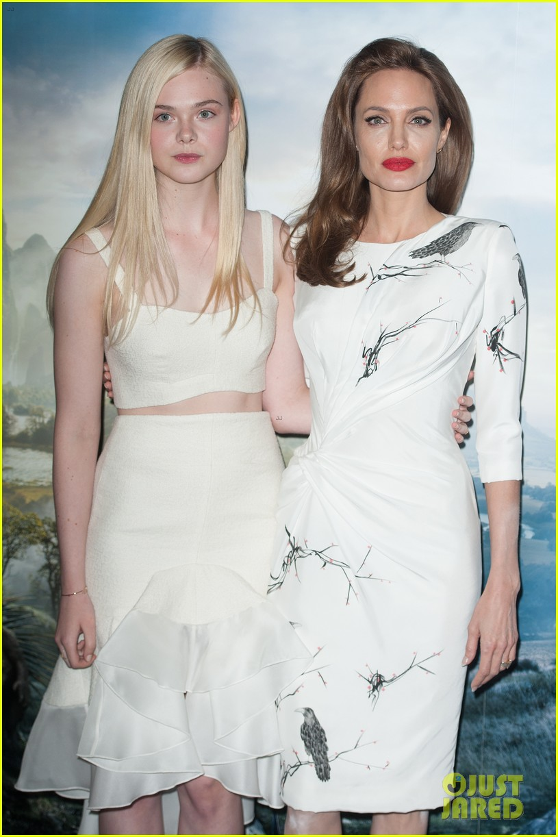 angelina jolie elle fanning are lovely in white at maleficent london 02