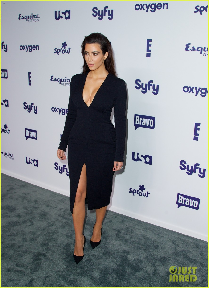 kim kardashian flashes major cleavage at nbcu upfronts 14
