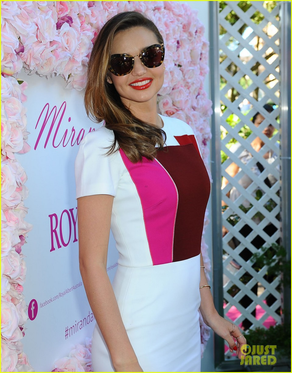 miranda kerr rocks two chic looks to promote her teaware 143114754