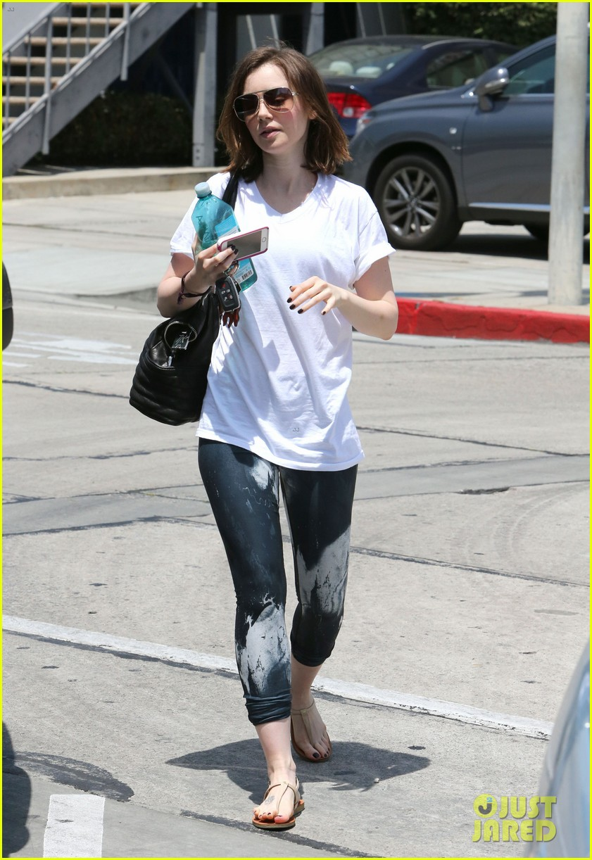 lily collins multi colored workout leggings 01