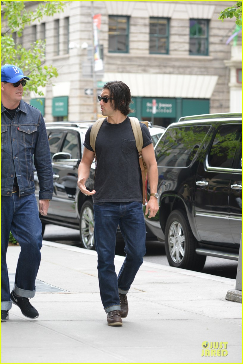 milo ventimiglia muscles in a tee in nyc 11