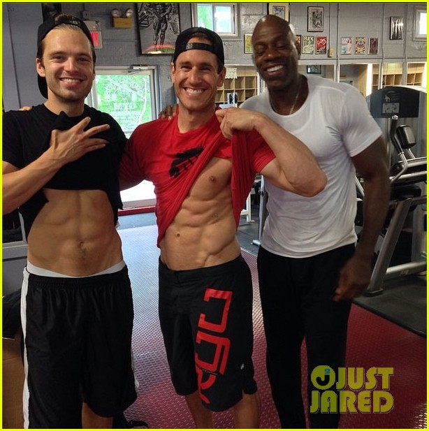 sebastian stan flashes his abs at the gym3118544
