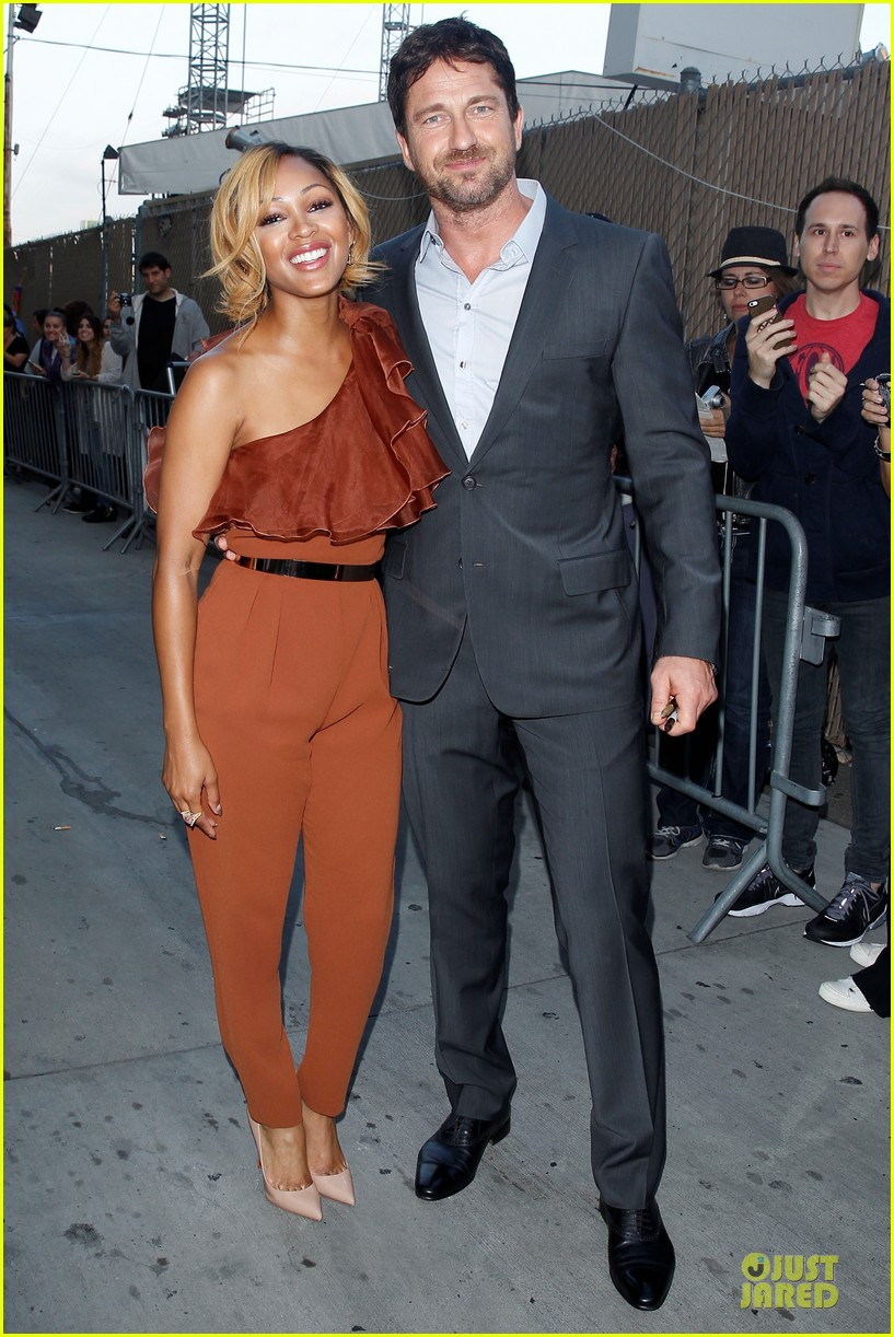 gerard butler meagan good picture at jimmy kimmel live 013132821