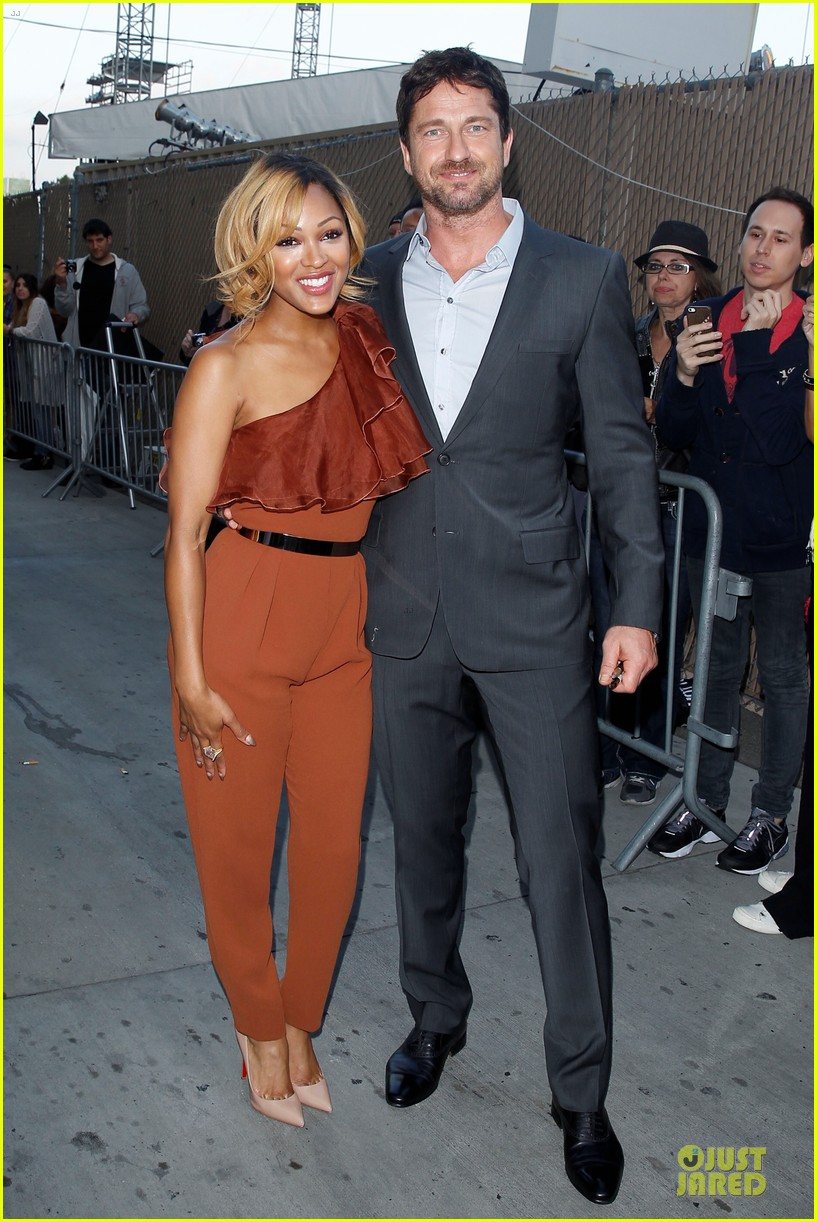 gerard butler meagan good picture at jimmy kimmel live 16