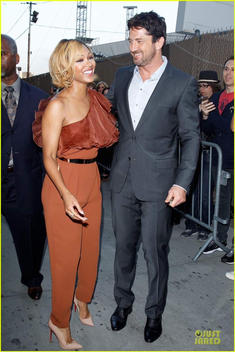 gerard butler meagan good picture at jimmy kimmel live 20