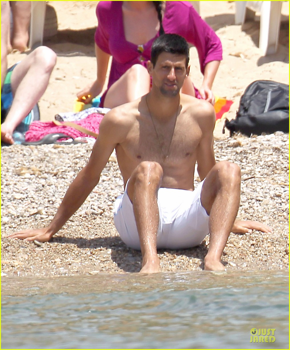 novak djokovic happy shirtless bachelor party vacation 02