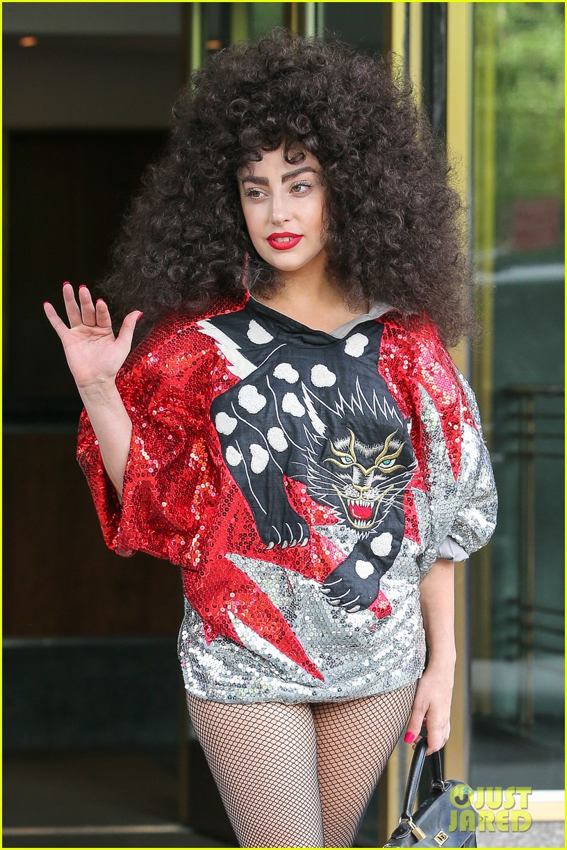 lady gaga debuts huge curly teased hairdo thick eyebrows in nyc 043129932
