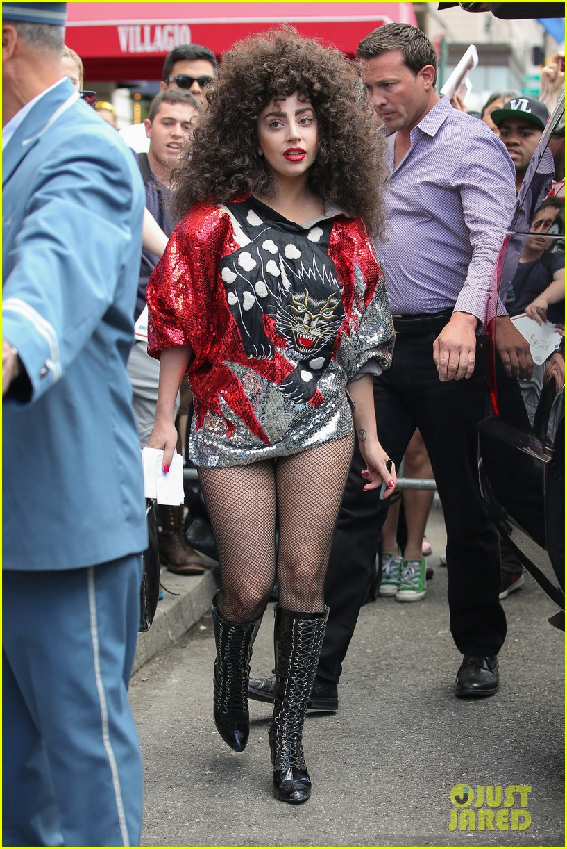 lady gaga debuts huge curly teased hairdo thick eyebrows in nyc 123129940