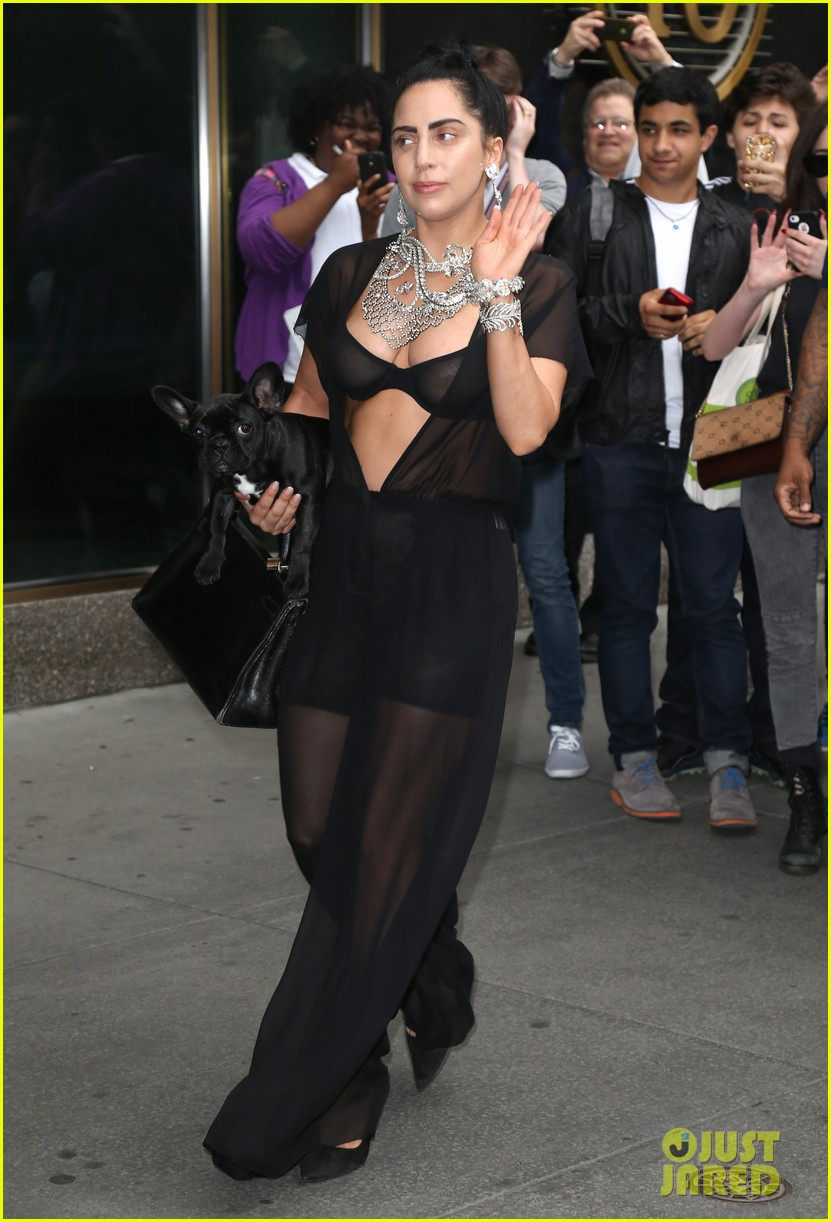 lady gaga goes wigless bares nipples sheer bra 053134248
