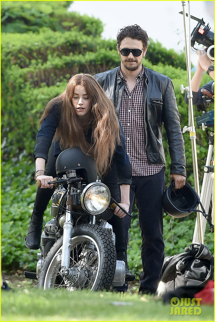 james franco wraps his arms around amber heard for motorcycle ride 093128099