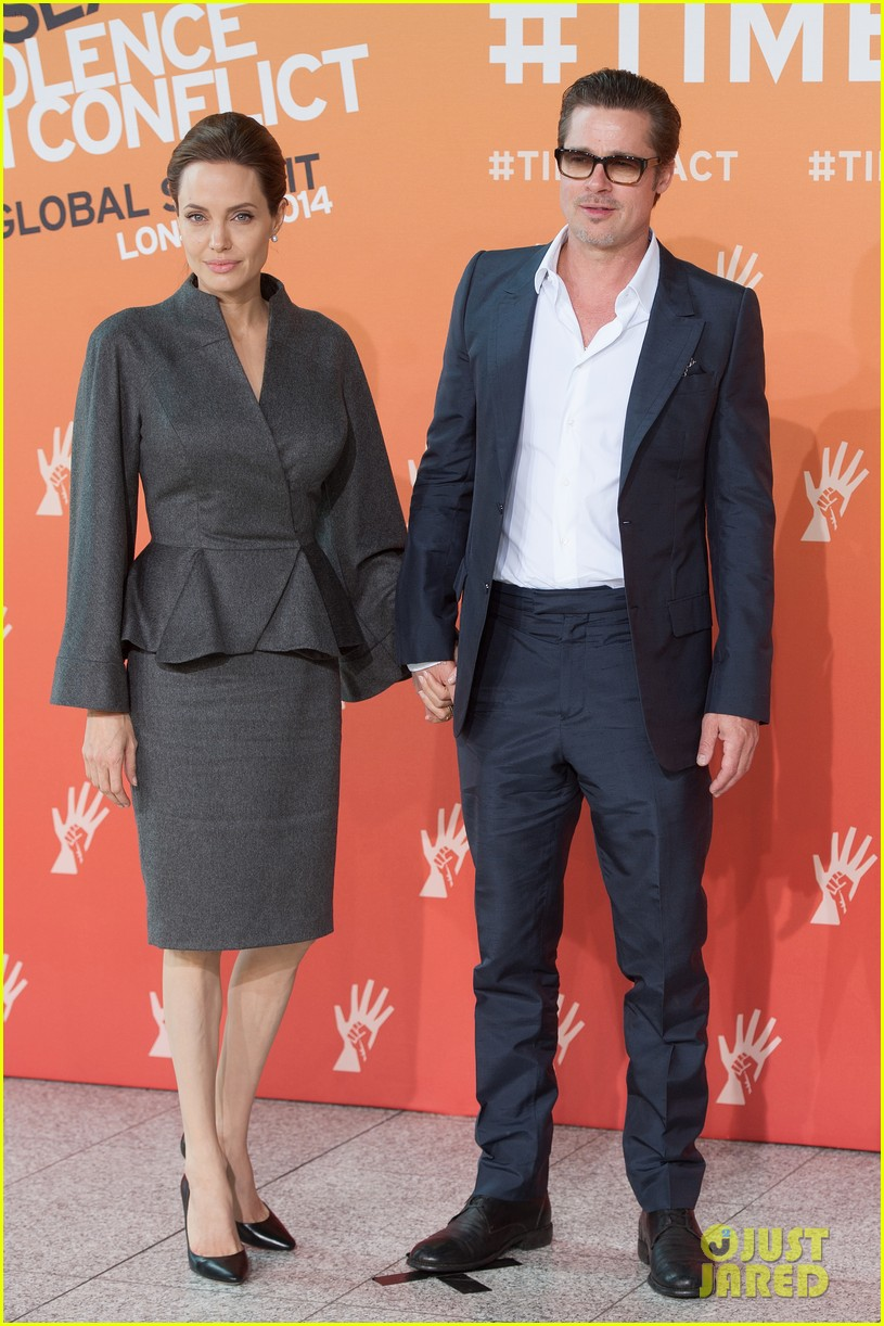 angelina jolie brad pitt keep hand in hand at the global summit end sexual violence 083134586