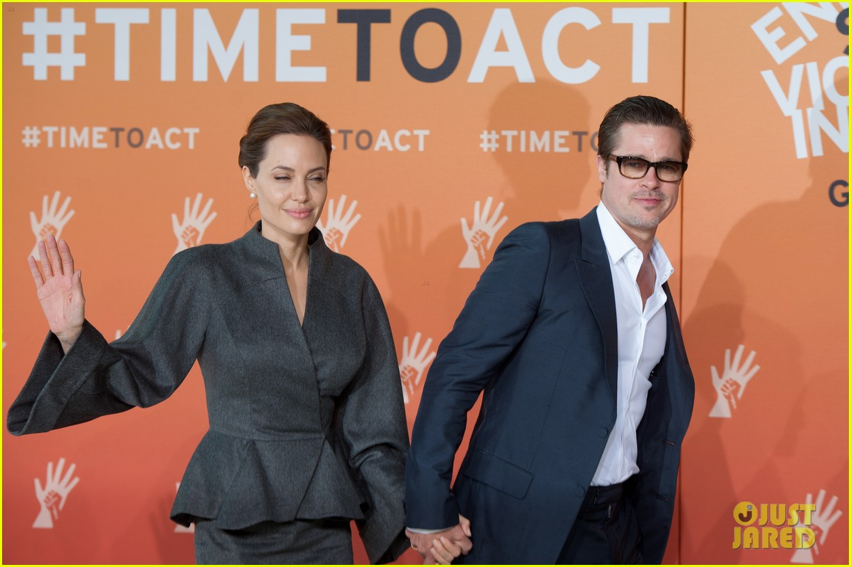 angelina jolie brad pitt keep hand in hand at the global summit end sexual violence 09