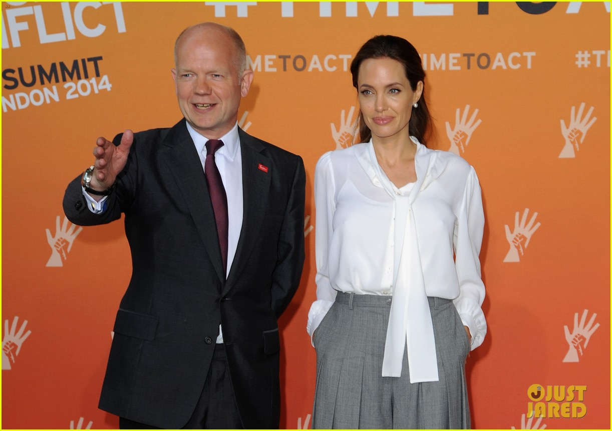 angelina jolie joins foreign secretary william hague for day two of global summit 063133017