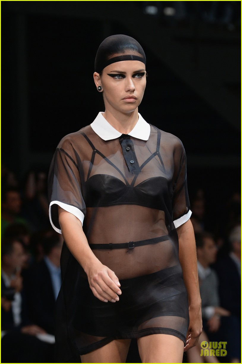 adriana lima irina shayk sheer at givenchy show 08