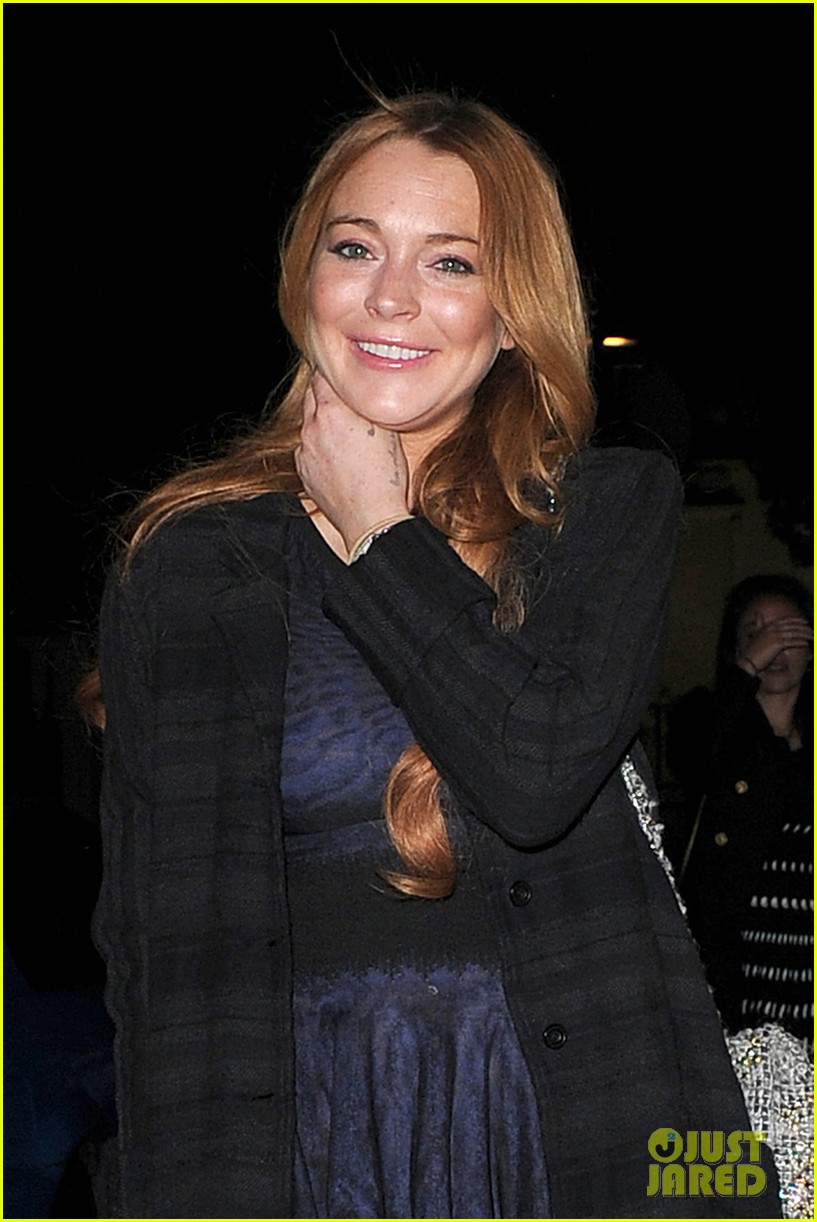 lindsay lohan changes up her look to evening wear for night out 09