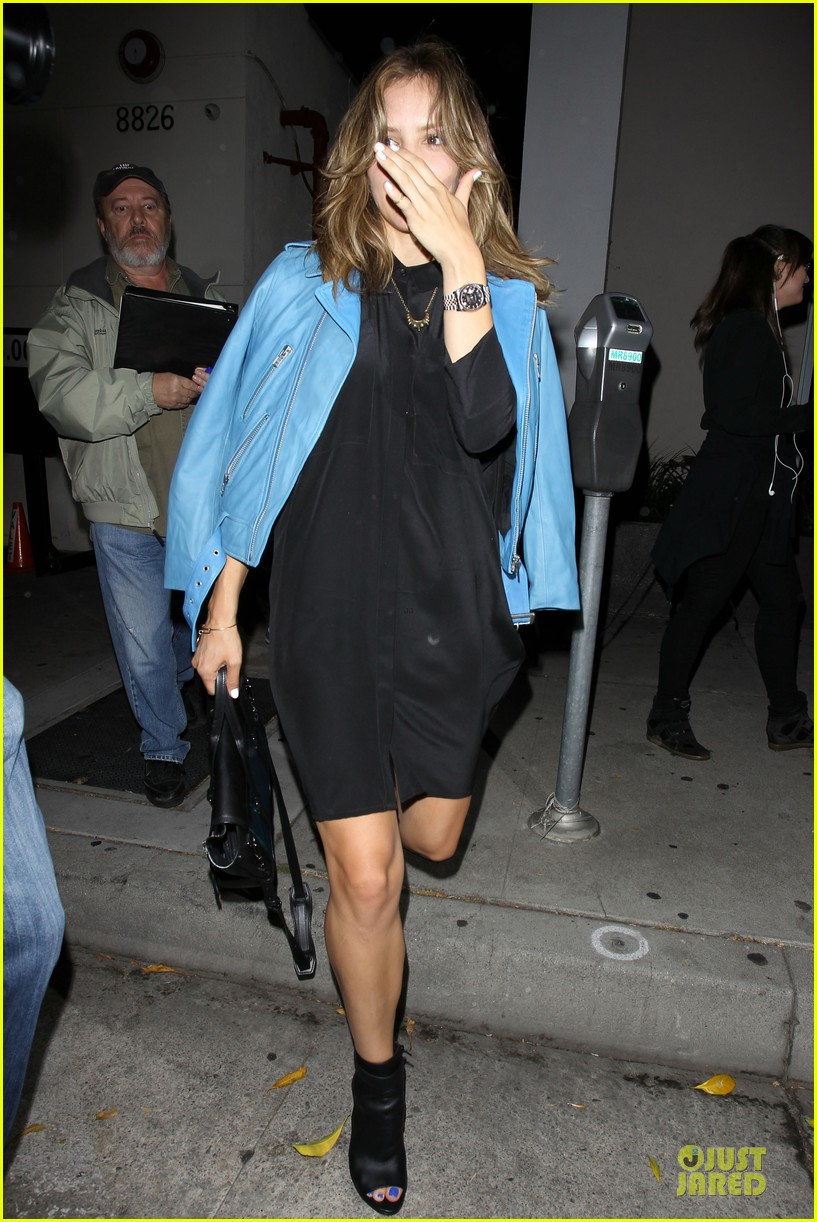katharine mcphee likes to pair black with cool colored jackets 093137606