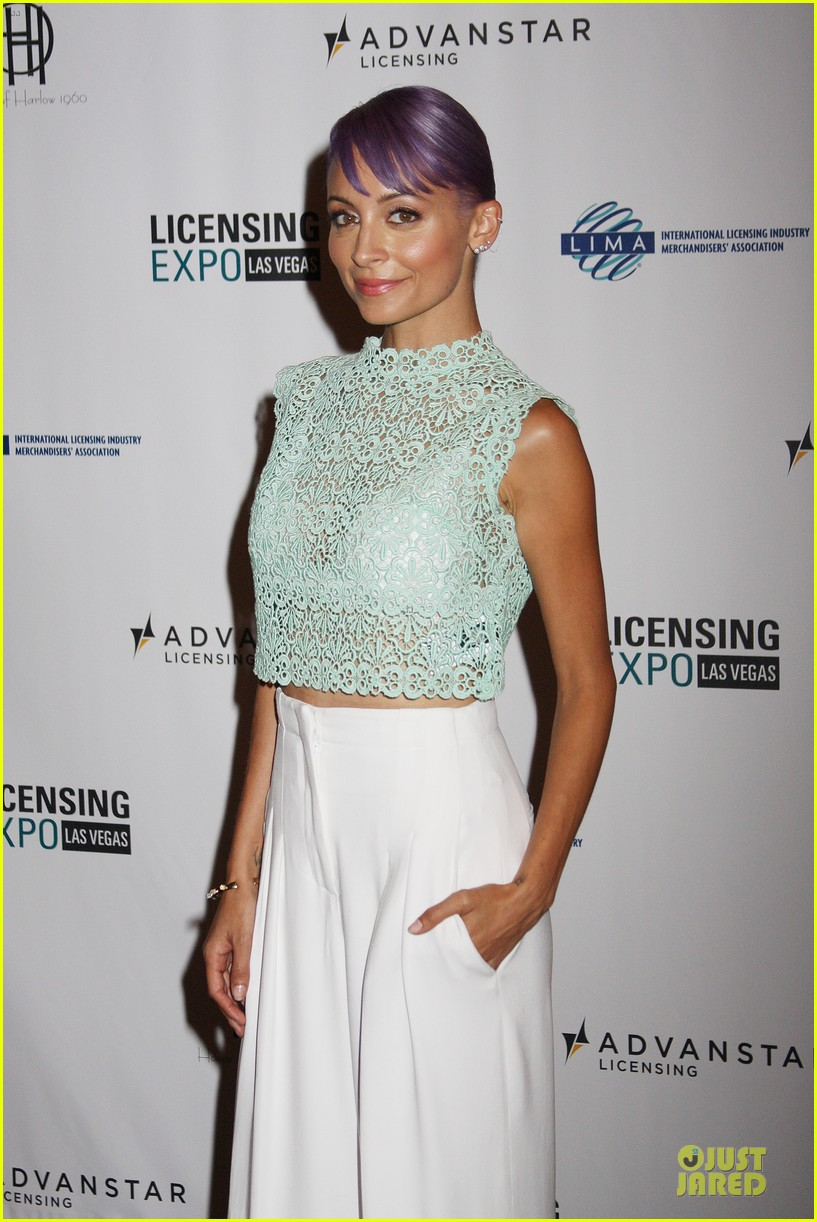 nicole richie rocks purple hair white bra at licensing expo 063137715