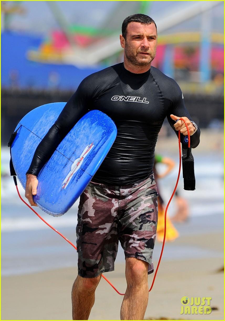 liev schreiber shirtless beach fathers day 103136543