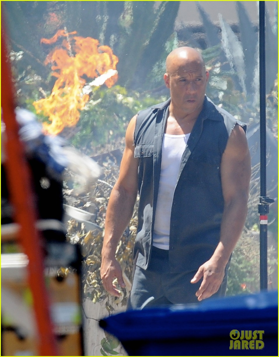 vin diesel does some fiery stunt work for fast furious 7 02