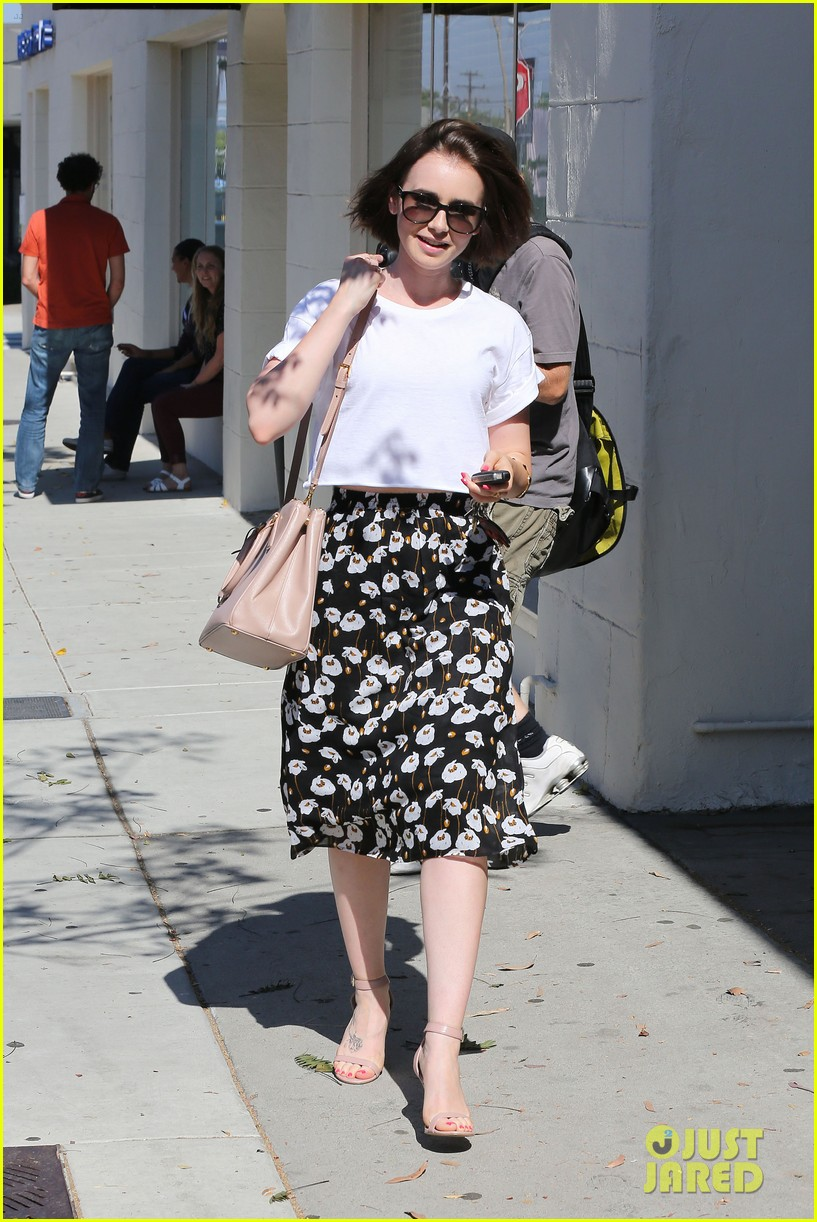 lily collins salon stop before holiday 083149242
