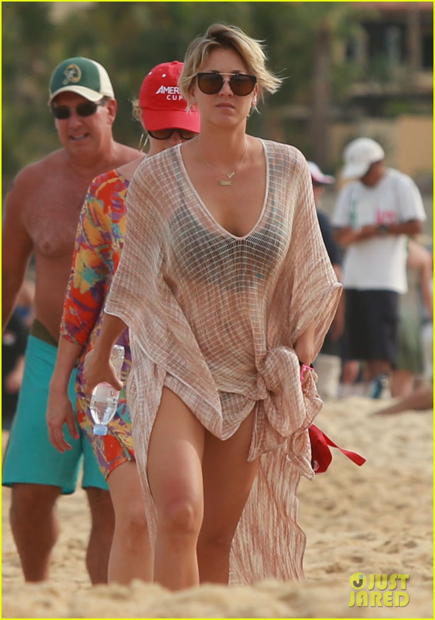 kaley cuoco covers bikini body with sheer wrap 16