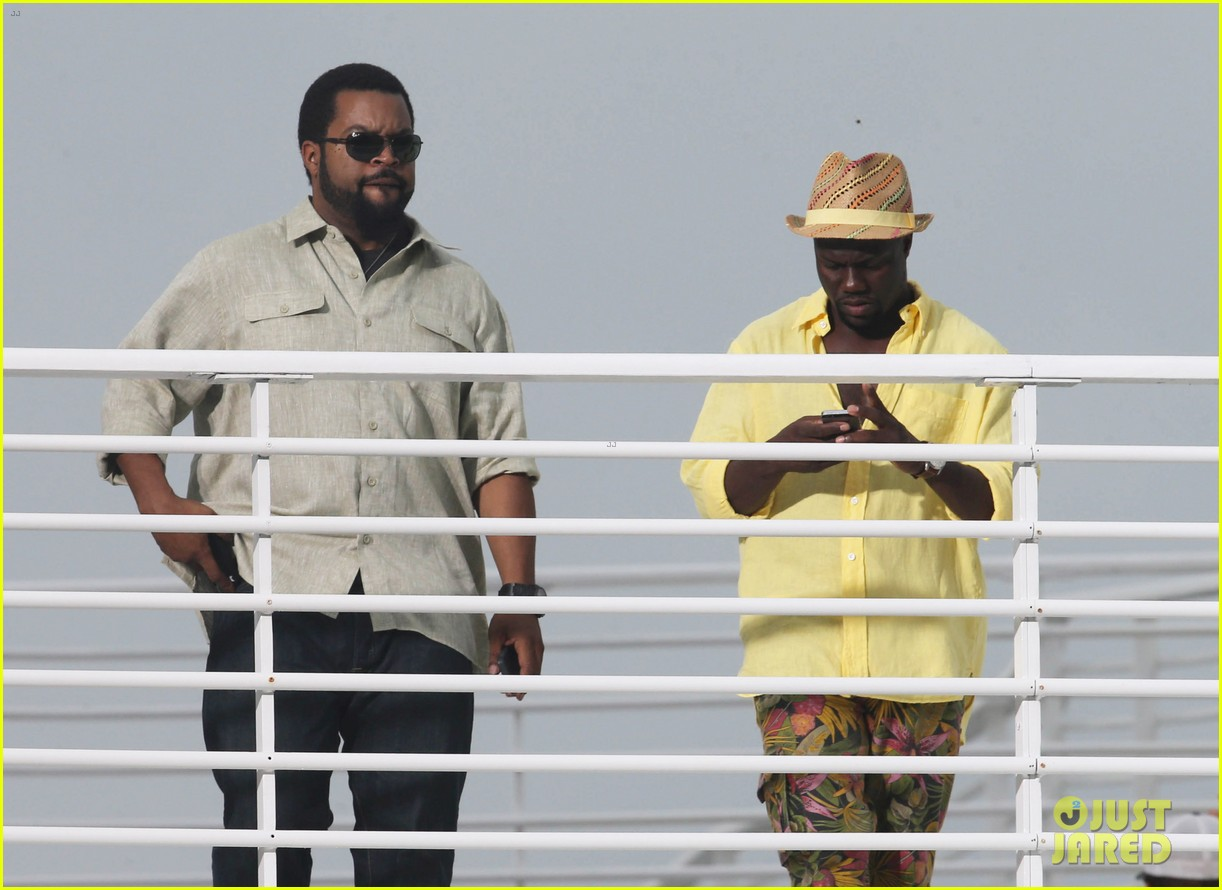 kevin hart begins filming ride along 2 with ice cube in miami 09