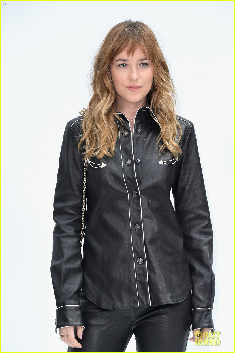 dakota johnson sexy leather outfit at chanel show 043151948