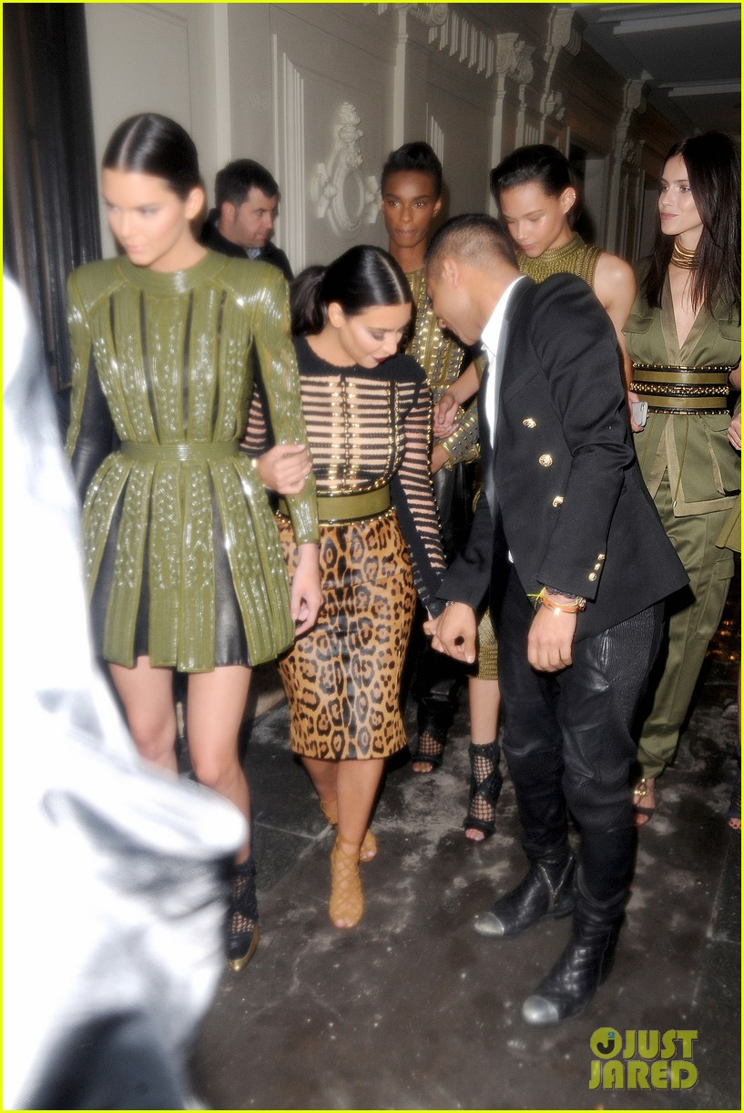 kim kardashian kendall jenner balmain paris fashion week 16