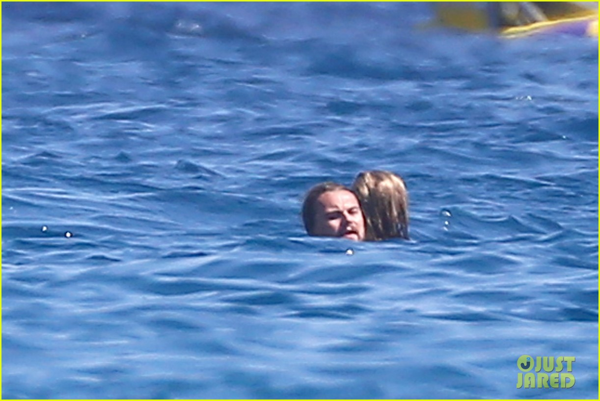 leonardo dicaprio goes shirtless with toni garrn for relaxing yacht day 04