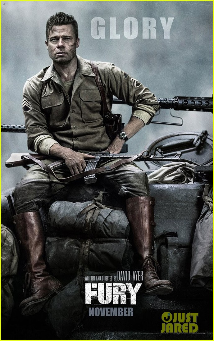 brad pitt gets all the glory in new fury banner posters